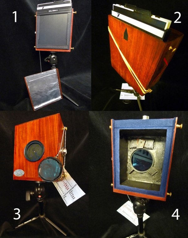 F250 pinhole camera ready for infrared photography.1 and 2 the modification include the aluminum foil IR shield glued to a wooden cover for the film holder.3 and 4 shows the internal, removable installation for the R72 filter and the IR shielding of the shutter lens-cap, ©Delio Ansovini