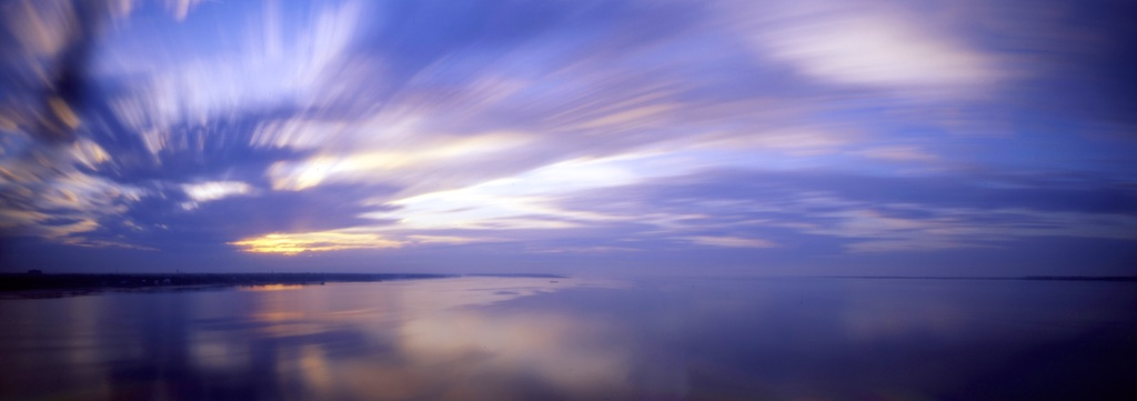 Sunrise on Biloxi Bay, Reality So Subtle 6×17 pinhole camera, Fuji Velvia 50, ©Eddie Erdmann