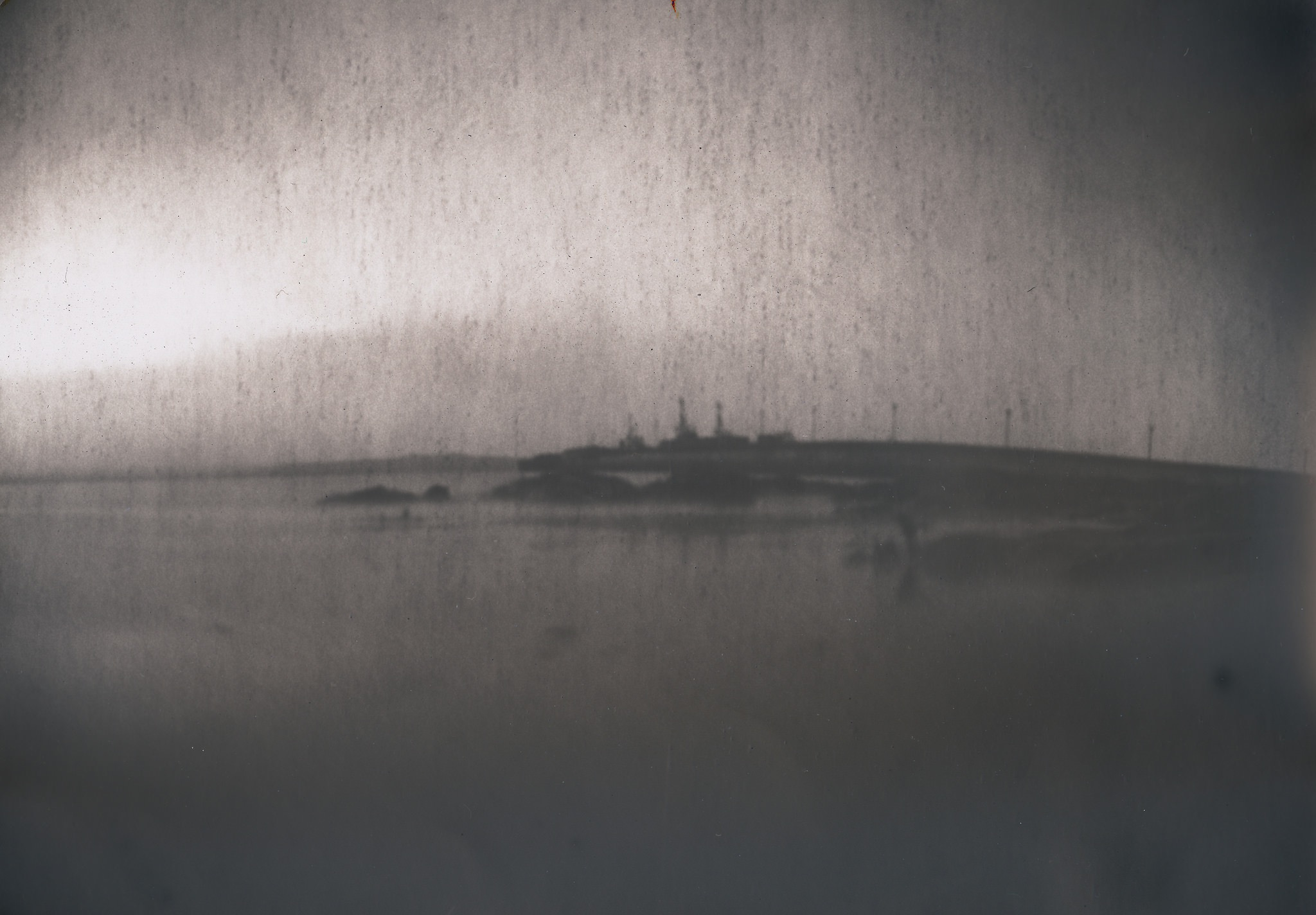Scapa Pier, coffee can pinhole camera, 50 year old Ilford paper, ©Ingrid Budge
